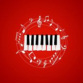 Piano Keys With Stave And Music Notes On Red Background. Music Festival Poster. Music Elements For C poster