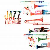 Jazz Music Colorful Background. Jazz Music Festival Poster. Word Jazz With Saxophone Isolated Vector poster