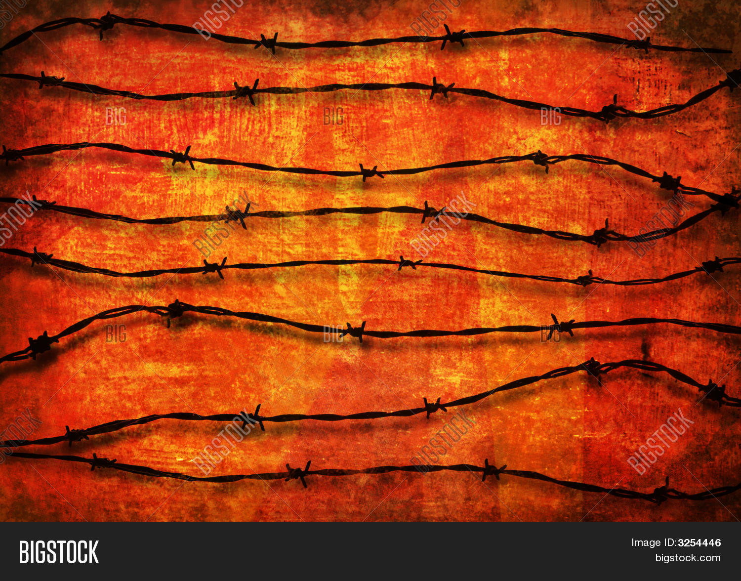 Barbed Wire Background Over Red Image & Photo | Bigstock