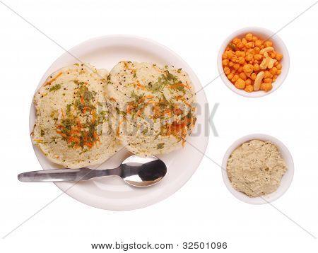 Traditional Karnataka Cuisine Rava Idly, Chutney