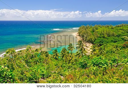 Tropical Beach And Lagoon In Hawaii