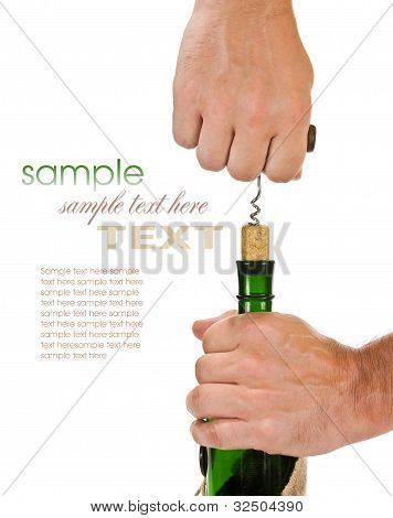 Pulling Corkscrew Cork From The Bottle