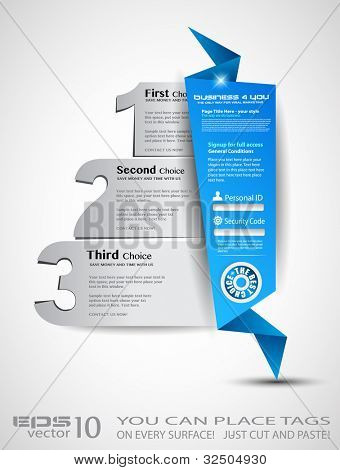Origami option men���¹ with 3 choices. Ideal for web usage, depliant for product comparison or business presentation.
