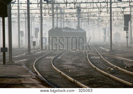 Train In Fog In Brugges, Belgium