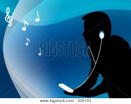 Male Listening To Music With His Mp3 Player 3