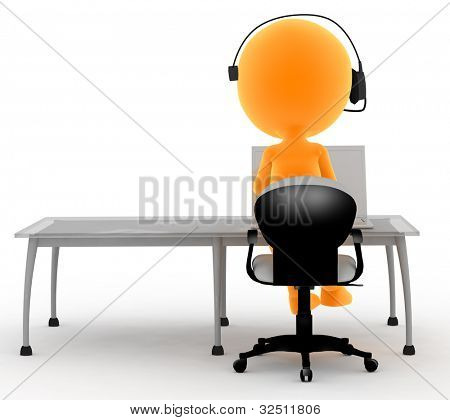 Gold man with headset and computer. Call center, tele marketing, IT service etc conepts