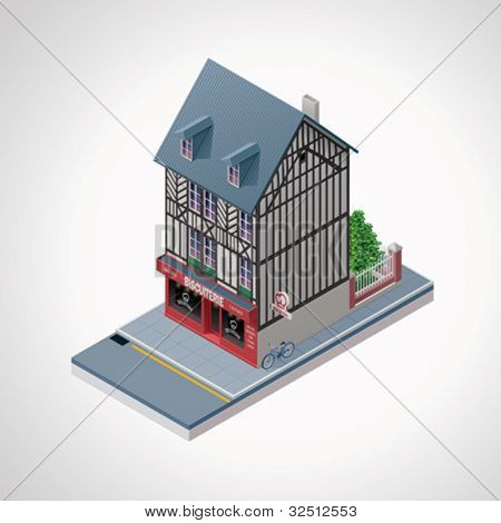 Vector isometric French cakes and cookies shop