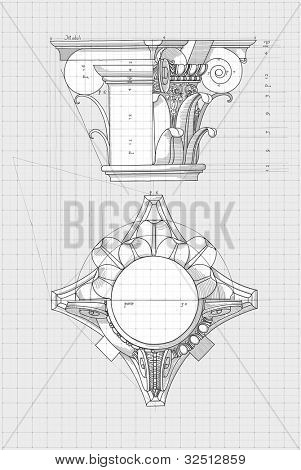 Blueprint - chapiter- hand draw sketch composite architectural order based
