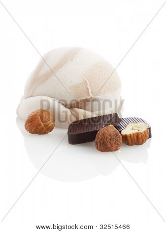 ice cream ball with hazelnuts and chocolate isolated on white background