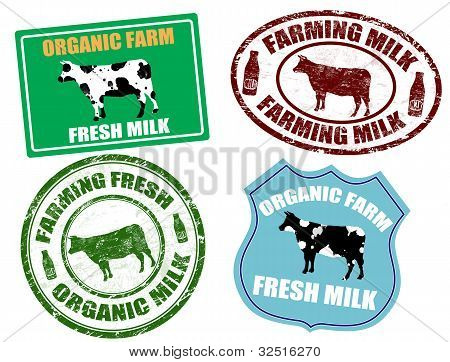 Farming Milk Labels And Stamps