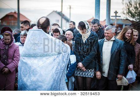 MUKACHEVO - APRIL 15:Easter, parishioners of the Orthodox Church. Ceremony of illumination. Easter Celebration in the Orthodox Church Cathedral on April 15, 2012, Mukachevo, Ukraine.