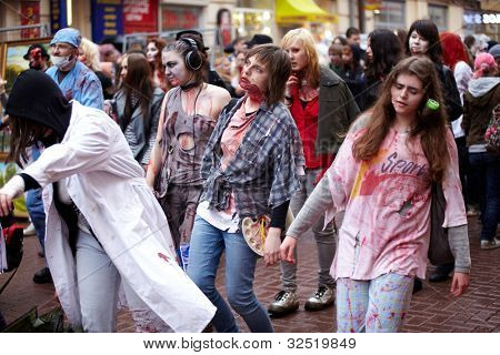 MOSCOW - MAY 14: Unidentified bloodstained female participants of Zombie Parade on Old Arbat, May 14, 2011, Moscow, Russia.