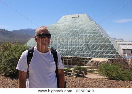 Man at Biosphere 2 near Tucson Arizona