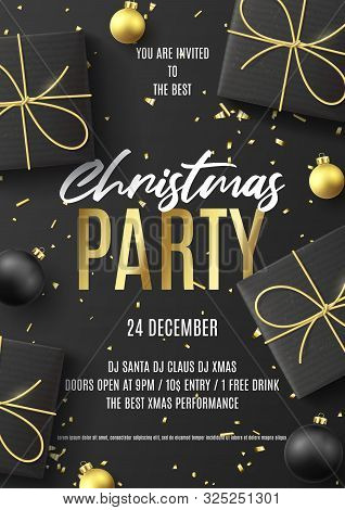 poster of Merry Christmas Party Poster. Holiday Flyer With Realistic Black Gift Boxes, Christmas Black And Gol