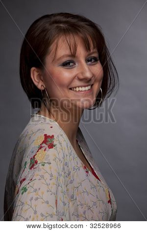 smiling brunette young woman