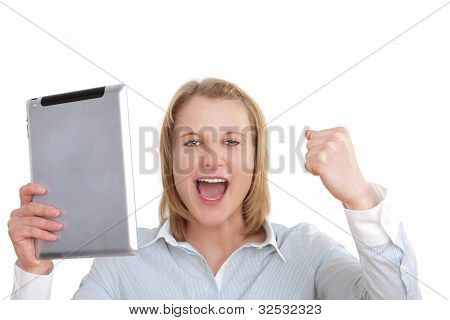 Beautiful young business woman looks astonished