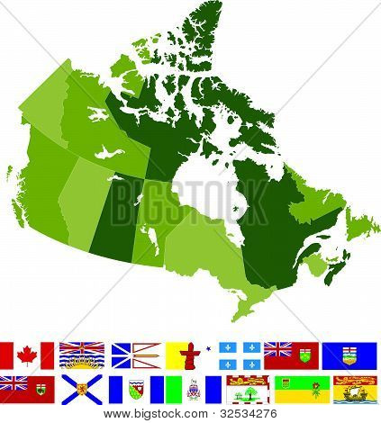 Canada Map And Flags