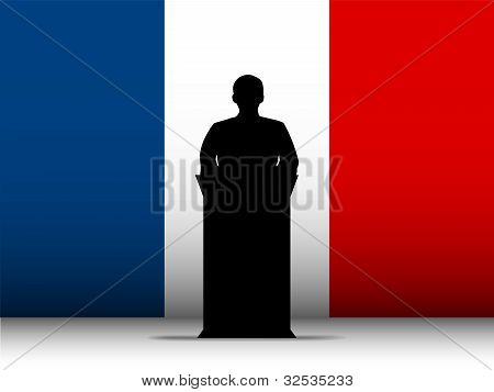 France Speech Tribune Silhouette With Flag Background