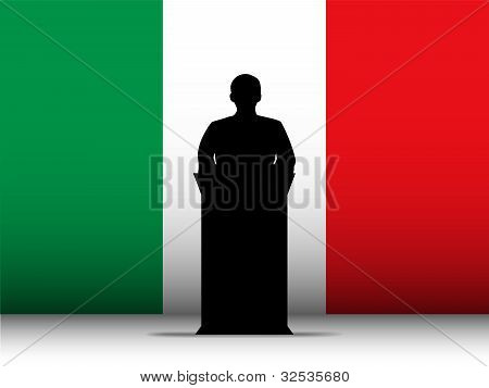 Italy Speech Tribune Silhouette With Flag Background