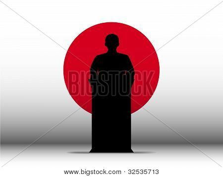 Japan Speech Tribune Silhouette With Flag Background
