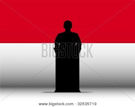Monaco Speech Tribune Silhouette With Flag Background