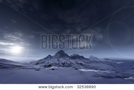 An image of a snowy mountains scenery