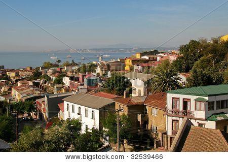 Luftbild in Valparaiso, Chile