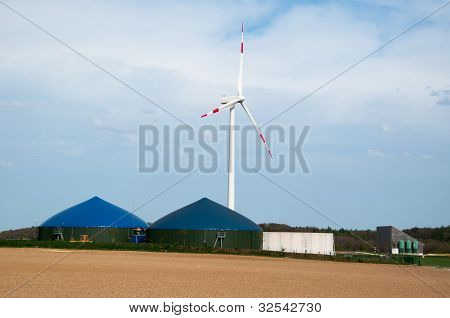 Biogas Plant With Wind Turbine