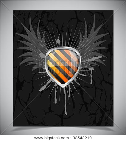 Glossy shield emblem on black background
