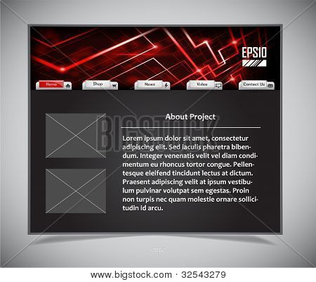 website template in black and red colors
