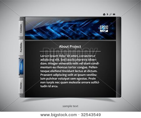 website template in black and blue colors