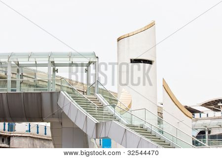 Modern Flyover, Beautiful Buildings In Public Place.