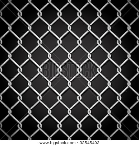 Metal fence on a dark background.