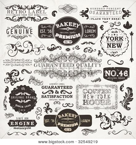 Retro labels and vintage badges: Bakery, Guaranteed and Satisfaction, Coffee House, Genuine | Set of old page elements for design | Grunge paper background