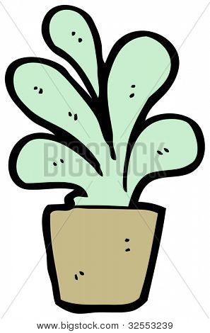cartoon abstract house plant