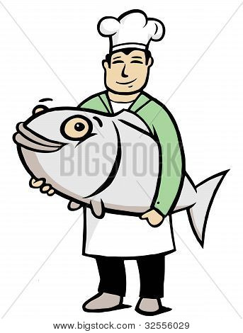 Chef holding a big fish in his hands