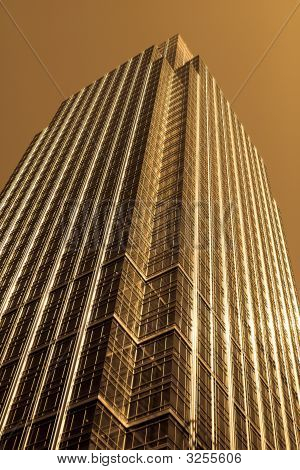 Sepia Effect Modern Glass And Steel Office Building