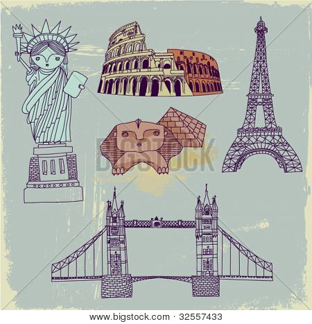 Famous World Landmarks - Set of hand drawn most famous world landmarks, including Statue of Liberty, Great Sphinx, Colosseum, London Bridge and Eiffel tower, on a grungy vintage postcard background