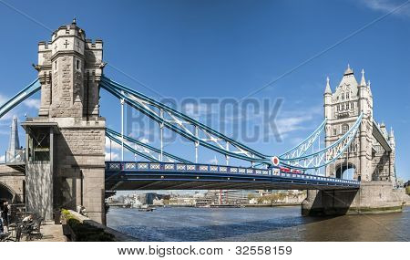 LONDON, UK - APRIL 30: Panoramic shot of Tower Bridge. April 30, 2012 in London. The iconic bridge was completed in 1894.