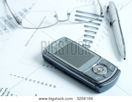 Cellphone With Pen And Glasses