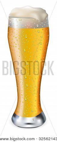 Beer In Glass With Drops