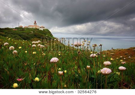 Wild flowers and the lighthouse in the cliffs of Roca Cape in Portugal