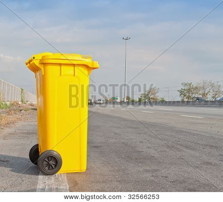 Garbage Bin On Highway