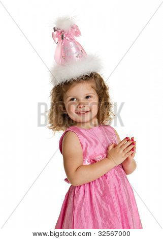 3 year old birthday girl with pink dress and hat isolated on white background