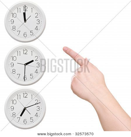 Three Clock. Finger Points To The Clock