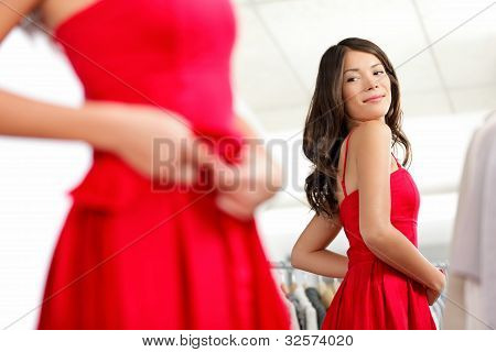 Girl Trying Dress