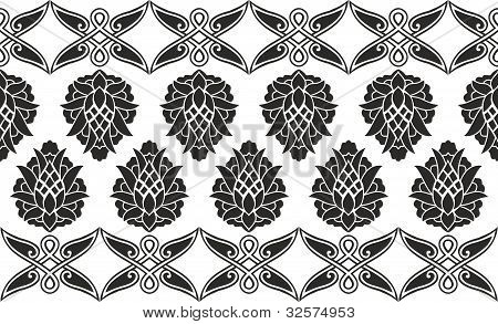 Seamless Damask Or Victorian Floral Black-and-white Vector Texture (border)