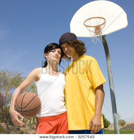 Teen Basketball Couple