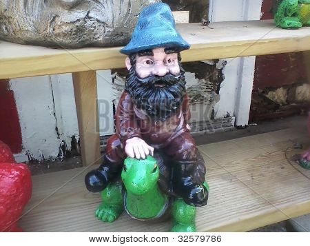 Gnome riding a turtle