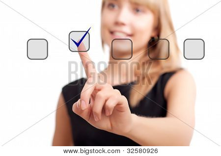 woman pushing on touch button
